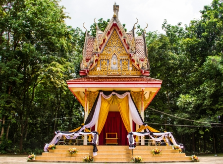 Buddist funeral decoration in the temple of Thailand  photo