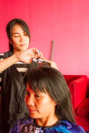 Hairdresser working in the salon with customer  photo