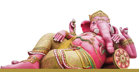hindu god: Pink Ganecha in relaxing on the white background  Stock Photo