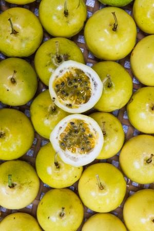 half cut: Yellow passion fruit half cut .