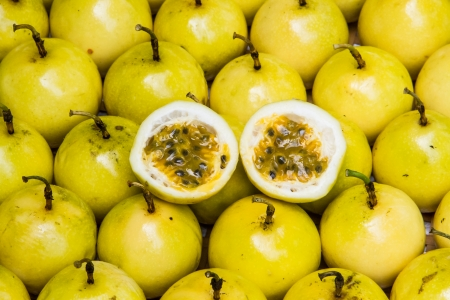 Yellow passion fruit half cut .