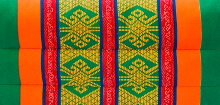 Colorful close up pillow design in Thai style. photo