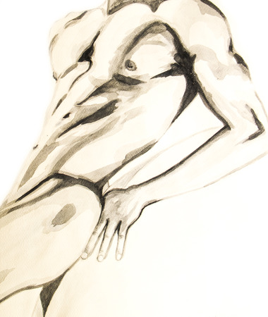 nude model: Water colour painting of the naked body of a man . Stock Photo
