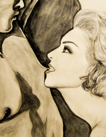 Water colour painting  of a man and a woman.