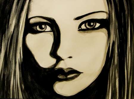 Water colour painting  of a girl face. photo