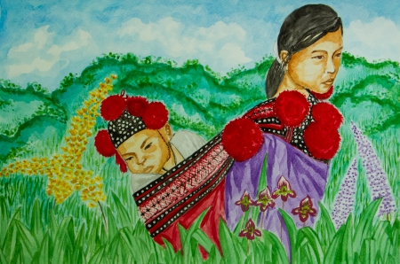 Water colour painting of tribe woman and son. photo