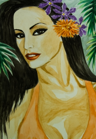 Water colour painting of beauty woman with flower on her hair. photo