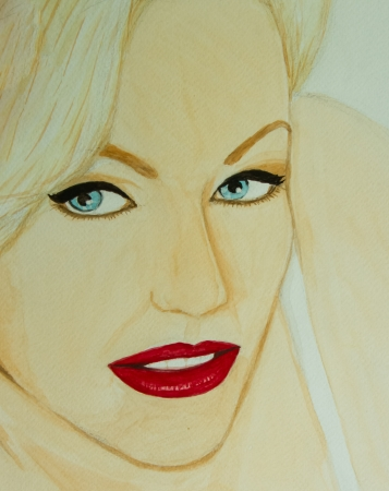 Water colour painting of red lip lady . photo