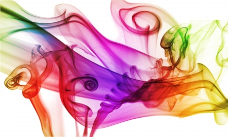 Colorful smoke on the white background .