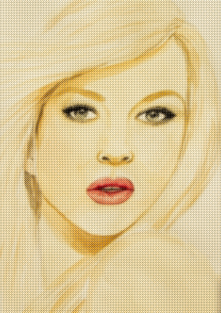 Halftone of painting  a woman face. photo