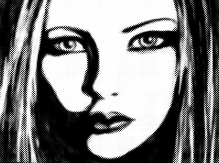Halftone of painting  of a girl face. photo