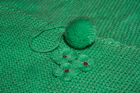 Close up of flower and ball knitting . Stock Photo