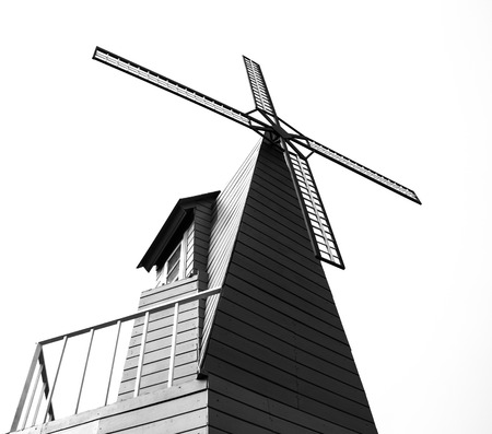 Silhouette windmill on the white background  photo