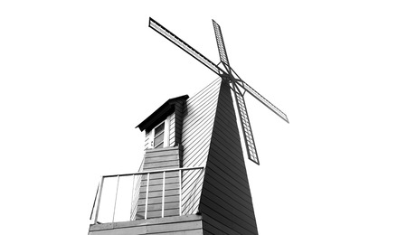 Silhouette windmill on the white background. photo