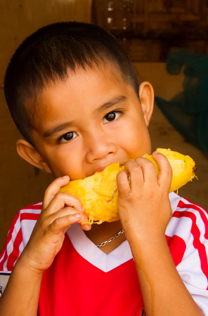 Asian boy eating yellow mango. photo