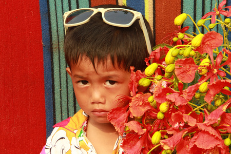 Boy in the theme of  summer time . photo