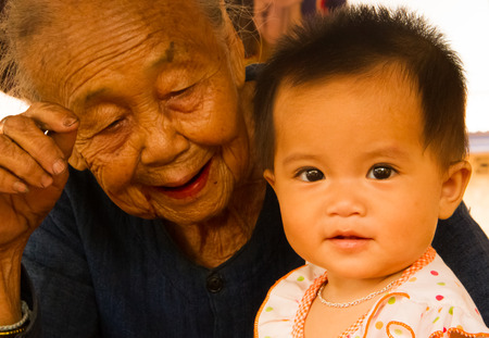 Grandmother enjoy the moment with granddaughter . Stock Photo