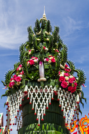 Banana leaf in Thai style flower  decoration for buddhist sacrificial ceremony. photo