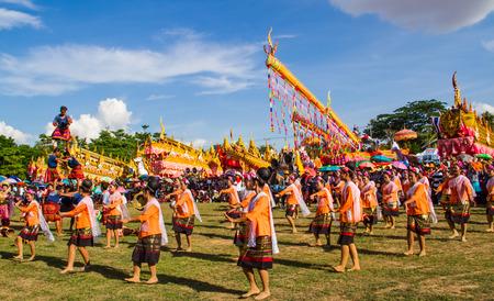 MAHASARAKHAM,THAILAND - MAY 18 : Thai ladies and musician performing Thai music and Thai dancing in Rocket festival