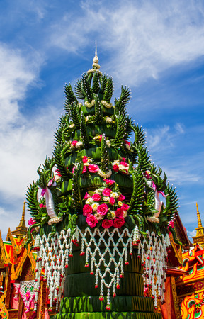 Banana leaf in Thai style flower decoration for buddhist sacrificial ceremony  photo