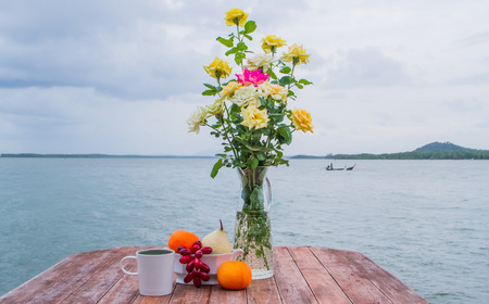 Table decoration beside the sea photo