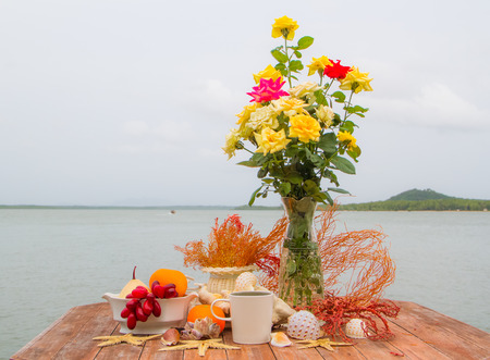 Table decoration beside the sea . photo