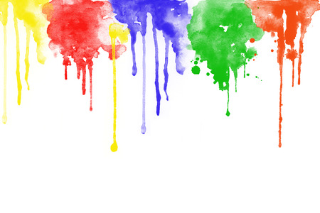dabs: Colorful watercolour on white background .