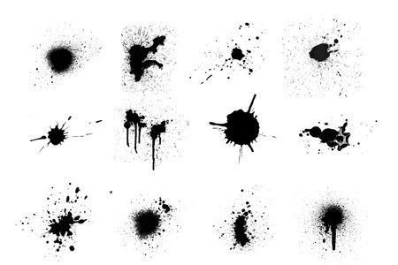 Black ink splashes set on white background. photo