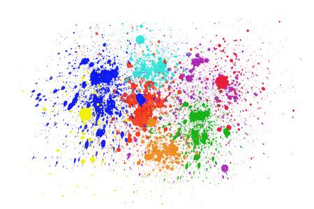 Colorful ink splashes on white background. photo