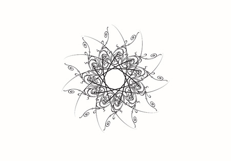 Illustration of abstract flower on white background. illustration