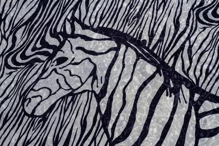 freaked: Close up of zebra print fabric background. Stock Photo
