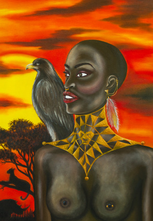 Oil painting of african woman with sunset background. photo