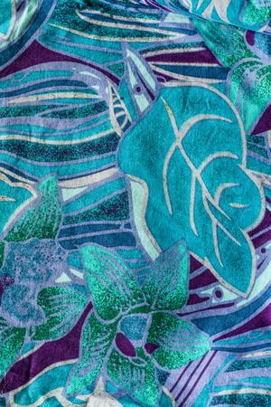 Flower print fabric close up background. photo