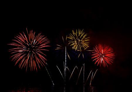 black smoke: Beautiful firework show for celebration.