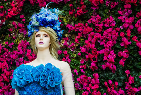 Chiang rai,Thailand-January 4,2015 : Model  with flower dress in Chiang rai flower festival 2014.This event will happen in winter time every year. Editorial