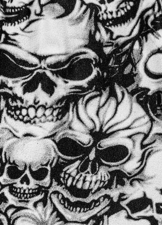 Skulls print close up background.