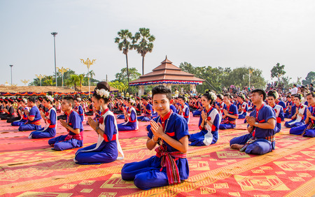the place is important: NAKHON PHANOM ,THAILAND-OCTOBER 8: Buddhism show how to worship Pratat Pranom pagoda on 8 October 2014 at Nakhon Pranom ,Thailand.Pratat Pranom pagoda is very important place for buddhism. Editorial