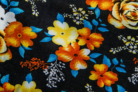 flower close up: Flower print fabric close up background.