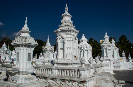 mortuary: Monk mortuary urn in buddhist temple. Stock Photo