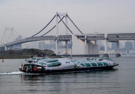 sumida: TOKYO,JAPAN-APRIL 6: Hotaluna is amazing boat service  in  Tokyo,Japan shoot on April 6,2015.This boat service from Asakusa to Odaiba.