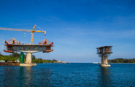 constructing: Bridge cross the sea in constructing.
