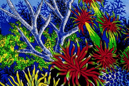 under sea: Under sea life print fabric.