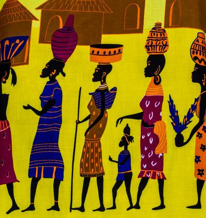 tribu: Ilustraci�n de tribu africana fondo de la tela de impresi�n. Foto de archivo