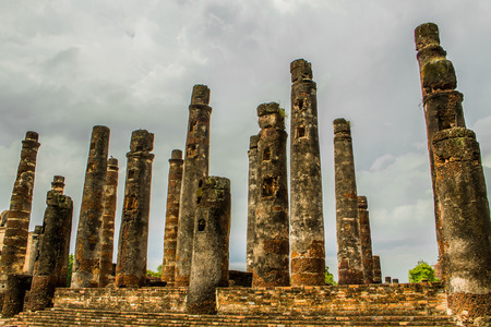Ancient pillars in ancient temple.
