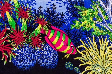 gorgonian sea fan: Under sea life print fabric.