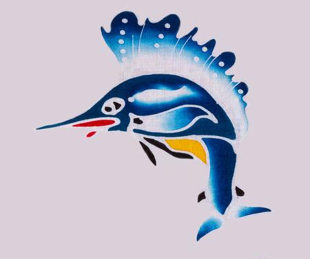 sailfish: Textura de la tela del pez vela en el fondo blanco.
