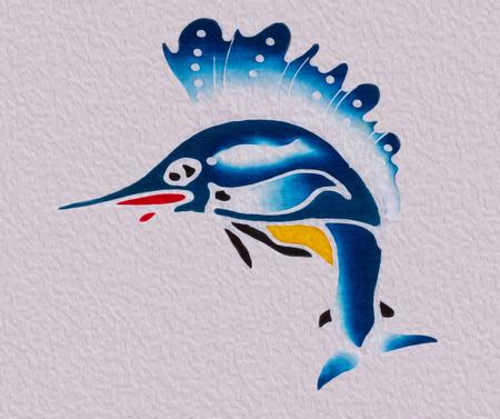 pez vela: Petróleo estilo pincel del pez vela.