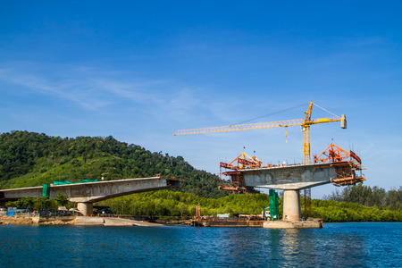 steel arch bridge: Bridge cross the sea in constructing.