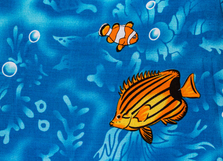 blue fish: Under sea life print fabric.