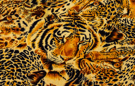 panthera: Tiger print fabric close up background.